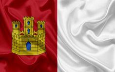 Download wallpapers Flag of Castile La Mancha, autonomous community, province, Spain, Castile La Mancha, silk flag, coat of arms