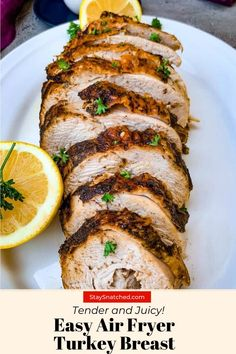 Easy Air Fryer Turkey Breast is a quick recipe that uses a 3 to 4 pound (lb), bone-in or boneless breast. This air fried dish includes a tutorial for how to cook, how long to cook, and the perfect temperature. The turkey is so juicy it will fall off the bone like a tenderloin! Feel free to slice the breast up to make cutlets. #AirFryerTUrkey Air Fry Recipes, Air Fryer Dinner Recipes, Air Fryer Recipes Easy, Healthy Recipes, Easy Turkey Recipes, Drink Recipes, Healthy Food, Boneless Turkey Breast Recipe, Roast Turkey Breast