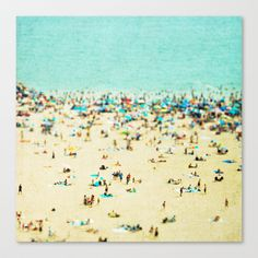 Coney Island Beach Stretched Canvas by Minagraphy - $85.00