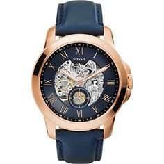 Fossil Men's ME3054 Grant Three-Hand Automatic Leather Watch – Navy Blue Theres nothing quite like our one-of-a-kind Grant. Designed with a two-hand automatic movement, exposed dial and genuine brown leather strap, this wrist essential balances the streamlined appeal of a dress watch with masculine details for an all-around timeless look. Rose gold-tone watch with Roman numeral indicies, skeleton inner dial, and seconds subdial Rose gold-tone watch with Roman numeral indicies, skele..