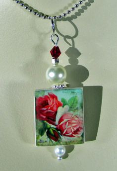 Scrabble Jewelry  Pendant  Red Roses  With by MaDGreenCreations, $7.95