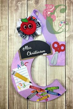 If you decide not to purchase, please to do copy. Use for inspiration. But please do not Copy my work and sell as your own design. Painting Wooden Letters, Painted Letters, Hand Painted, Teacher Name Plates, Letter To Teacher, Teacher Appreciation Gifts, Teacher Gifts, School Days, School Stuff