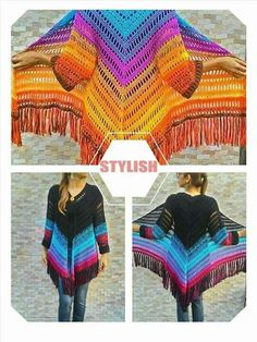 Irish lace, crochet, crochet patterns, clothing and decorations for the house, crocheted. Poncho Au Crochet, Crochet Bolero, Mode Crochet, Crochet Jacket, Crochet Cardigan, Crochet Yarn, Crochet Stitches, Knit Crochet, Crochet Patterns