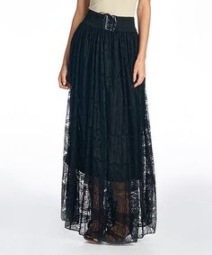 Love this Black Swirl Lace-Up Maxi Skirt on #zulily! #zulilyfinds