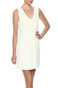 Sleeveless dress in Ivory. V neckline with pleated detail. Back zipper & clasp closure. Fully lined.   Classic Ivory Dress by Coveted Clothing. Clothing - Dresses - Knee Clothing - Dresses - Cocktail New Orleans, Louisiana