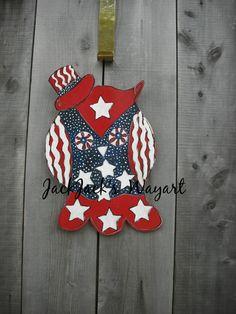 Patriotic July 4th door hanger Wooden Patriotic by JackJacksWayart