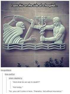 And then Percy Jackson fans (like moi) will see this as an epic battle between Hermes and Hades! >> I already pinned this but Percy Jackson. Percy Jackson, The Kane Chronicles, Funny Quotes, Funny Memes, Funniest Memes, That's Hilarious, Rick Riordan, Just For Laughs, Tumblr Funny