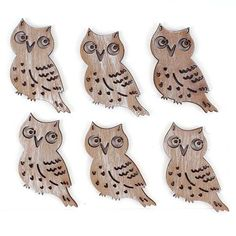 Christmas Brown Owl Wooden Toppers 6 Pack