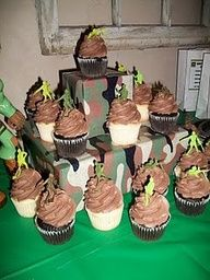 Cute camo cupcakes. Use plastic army men for toppers.