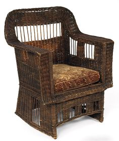 "Gustav Stickley wicker armchair #60. Secessionist inspired with rectangular negative spaces. 32.5""w x 26""d x 40.5""h. www.treadwaygallery.com"
