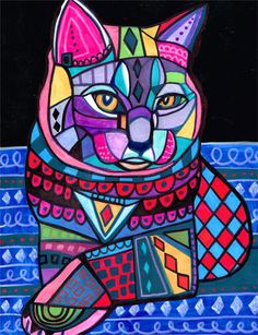 50 OFF  Chartreux Cat Folk art  Poster Print by HeatherGallerArt, $10.00