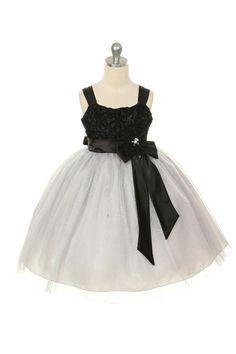 MB_223SV - Flower Girl Dress Style 223 - Adorable Tulle and Satin Ribbon Flower Dress - Silver Grays - Flower Girl Dress For Less