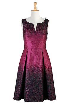 #eShakti Textured jacquard split neck dress