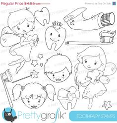 80% OFF SALE Tooth fairy stamp commercial use, vector graphics, digital stamp, digital images - DS625