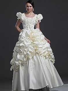Puffy Sleeved Satin Ball Gown Features Rosette Style Pick Up Skirt - USD $275.86