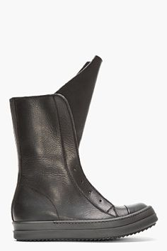rick owens black leather basket boots from ssense.com