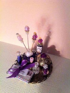 Dollhouse Miniature Mail Lavender Vanity Perfume Tray by Piera 1:12 Scale #Piera
