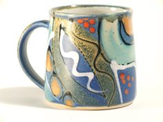Standard mug in midnight blue design hand-thrown pottery by Lea Phillips