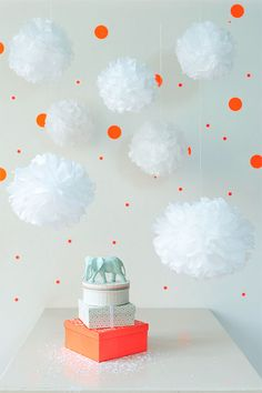 Pretty party poms and dots
