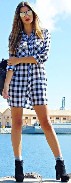 Cirenea Black And Gray Check Shirtdress Fall Streetstyle Inspo
