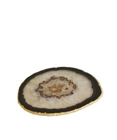 Agate Wine Coaster with Gold Leaf