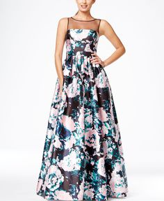 Adrianna Papell Floral-Print Illusion Gown