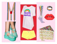 """""""Colorful Love!"""" by cjmax on Polyvore featuring cutekawaii, Goodie Two Sleeves, Sock It To Me, Tractr and Lime Crime"""