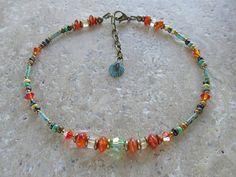 Cornalina y piedra citrina con cristales de Swarovski y