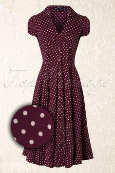 50s Harriet Shirt Dress Raspberry Red