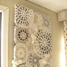: These are recycled crocheted doilies WALL HANGING