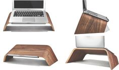 Walnut wood Laptop Stand By Grovemade - Front, Side, Back Views