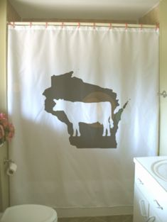 Wisconsin Dairy Cow Shower Curtain WI Map US State America USA Midwest  Bathroom Decor Kids Bath Curtains Custom Size Long Wide Waterproof