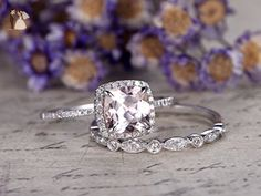 2pcs Diamond Ring Set, 8mm Cushion Cut Natural Pink Morganite Solid 14k White Gold Claw Prong Halo Art Deco Engagement Ring Marquise Milgrain Half Eternity Round Diamonds Bridal Wedding Band Sets - Wedding favors (*Amazon Partner-Link)