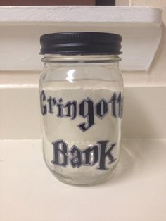 Harry Potter Gringotts Wizarding Bank Mason Jar by KaleyCrafts