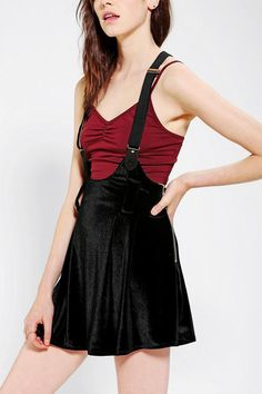 UNIF Dropout Velvet Overall Skirt #urbanoutfitters start with basics or you'll end up confused as am i.