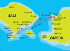 Gili Trawangan map fastboat routes