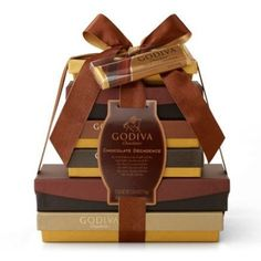 $175.00  The Godvia Chocolate Decadence GIft Tower includes a generous array of Godiva chocolate treats. A gift basket that is ideal for those new to Godiva or a well versed chocolate lover.