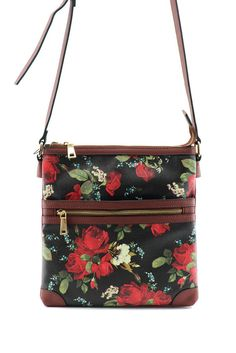 Flower Printed Front Zipper Accented Messenger Bag #GetEverythingElse #MessengerCrossBody