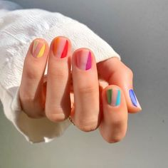 Cute And Pretty Nail Art Designs For Acrylic Short Nails - Nail Art Connect If you think acrylic nail art is only for long nails, you're wrong. Short nails can still be pretty nail Striped Nail Designs, Striped Nails, Nail Art Stripes, Polka Dot Nails, Simple Nail Art Designs, Short Nail Designs, Pretty Designs, Rainbow Nails, Neon Nails