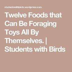Twelve Foods that Can Be Foraging Toys All By Themselves. | Students with Birds