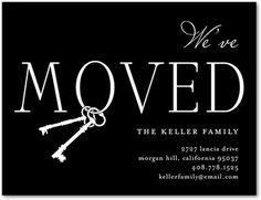 Chic Key Ring - Moving Announcement Postcards - Fine Moments. #move #announcements