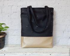 Купить Сумка-пакет с клёпками - сумка на каждый день, handmade bag, сумка хендмейд купить