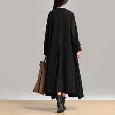 Women cotton linen loose fitting winter long coat - Tkdress  - 5