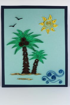 quilled coconut palm tree, ocean, sand, sunny beach scene // https://www.facebook.com/DoLeeNoted