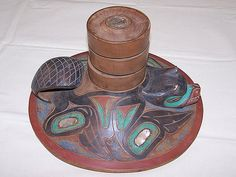 Tlingit or Haida Carved Wood Clan Hat, Beaver Design with Three Wooden Potlatch Rings, View 1