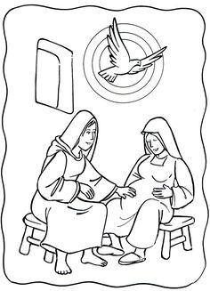 Luke 1:39-56: Mary Visited Elizabeth; Mary & Elizabeth Coloring Page
