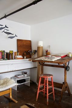 studio, home, interior, work space, drawing table, stool, storage, books, cosy, office, desk