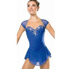 Ice Skating Dress Women's Sleeveless Snowsports Dresses Performance Spandex / Lace / Organza Crystals/Rhinestones / Ruffles 1 Piece  Red - USD $ 55.85