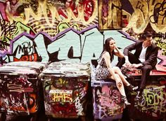 Graffiti Artistic Wall Couple Shoot | http://brideandbreakfast.ph/2011/02/09/cozy-aussie/ | Photography: Pat Dy
