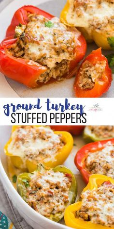 turkey recipes These make ahead Turkey Stuffed Peppers are a healthy, easy dinner recipe that the family will love! Full of ground turkey, brown rice, salsa, cheese and extra veggies! Perfect for your weekend meal prep and the filling is freezer friendly. Healthy Turkey Recipes, Healthy Ground Turkey, Vegetarian Recipes Dinner, Easy Dinner Recipes, Ground Turkey Dinners, Ground Turkey Meal Prep, Xmas Recipes, Chicken Recipes, Ground Turkey Recipes Whole 30